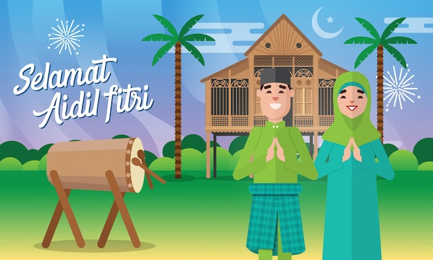Selamat hari raya aidil fitri grußkarte in der flachen artillustration mit muslimischem paarcharakter mit traditionellem malaiischem dorfhaus / kampung, kokosnussbaum und trommel