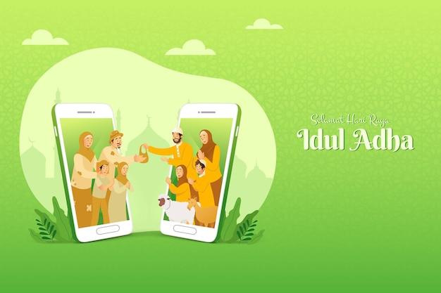 Selamat hari raya idul adha ist eine weitere sprache des glücklichen eid al adha auf indonesisch. muslimische familie, die das fleisch des opfertiers für arme menschen durch das smartphone-bildschirmkonzept teilt