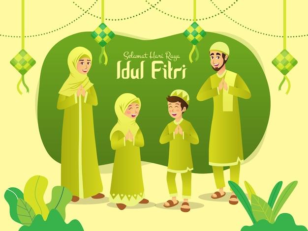 Selamat hari raya idul fitri ist eine andere sprache des glücklichen eid mubarak auf indonesisch. karikatur muslimische familie feiert eid al fitr