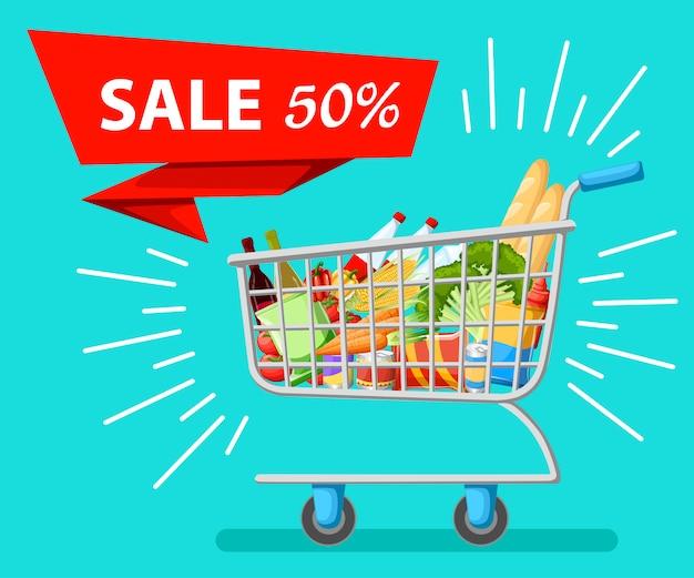 Selbstbedienungs-supermarkt voller einkaufswagen mit frischen lebensmitteln und rotem griff realistische illustration verkauf website und mobile app.