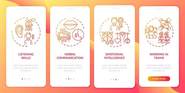 Selbstbewertungskategorien für zwischenmenschliche fähigkeiten roter onboarding-bildschirm der mobilen app mit konzept