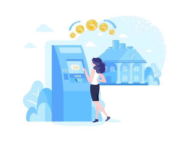 Selbstbewusste erwachsene geschäftsfrau, die in der nähe des geldautomaten steht, um geld zu bezahlen
