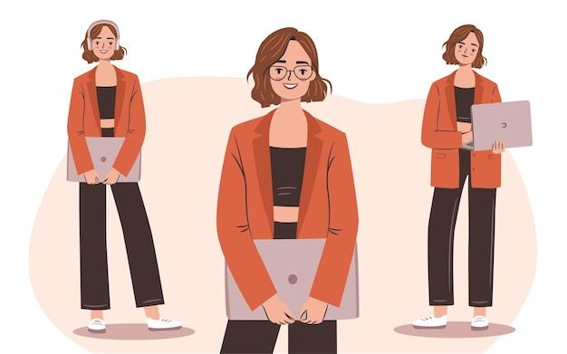 Selbstbewusste geschäftsfrau mit laptop-set junge, ermächtigte frau in einem stylischen anzug und brille