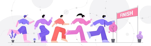 Selbstbewusste geschäftsleute, die laufen, um die führung im geschäftswettbewerb zu beenden