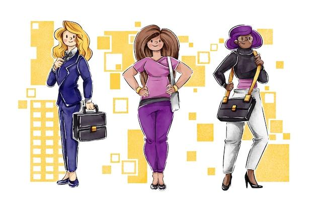 Selbstbewusste unternehmerinnen illustriert