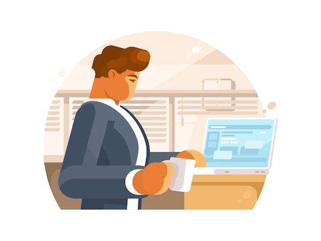 Selbstbewusster geschäftsmann am arbeitsplatz. mann mit kaffee und laptop. illustration