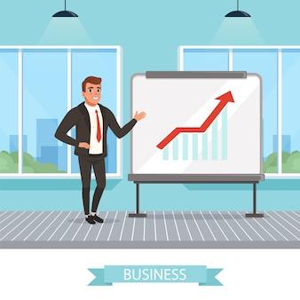 Selbstbewusster geschäftsmann, der nahe tafel steht und wachsende graphen zeigt. erfolgreiche arbeit. büroraum mit großen panoramafenstern. erfolgreicher arbeiter.