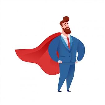Selbstbewusster hübscher geschäftsmann, der im anzug und im roten umhang steht. manager held im amt.