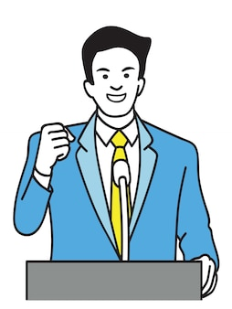 Selbstbewusster politiker hält faust auf podium