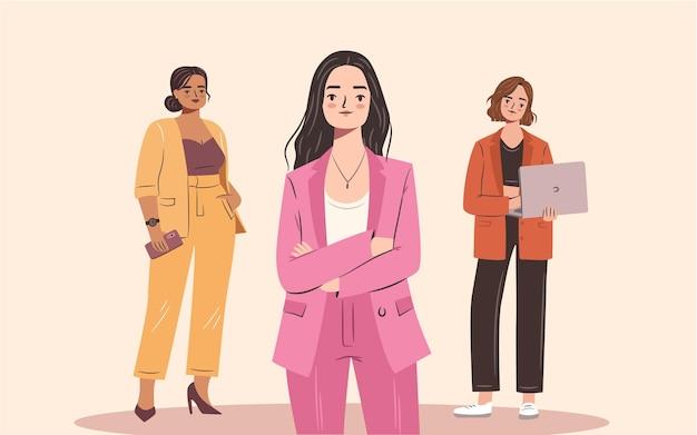Selbstbewusstes geschäftsfrauenset junge, selbstbewusste frauen in stylischen anzügen