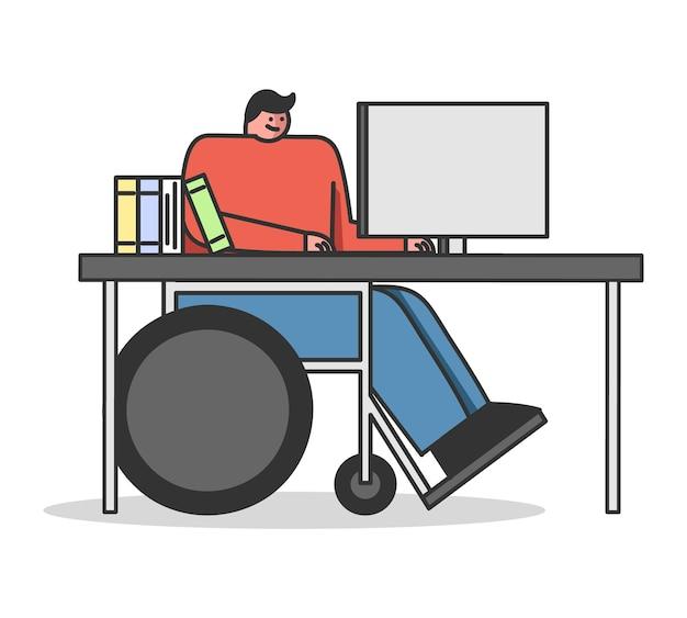 Selbstbildungsmann im rollstuhl nimmt an einem online-kurs teil