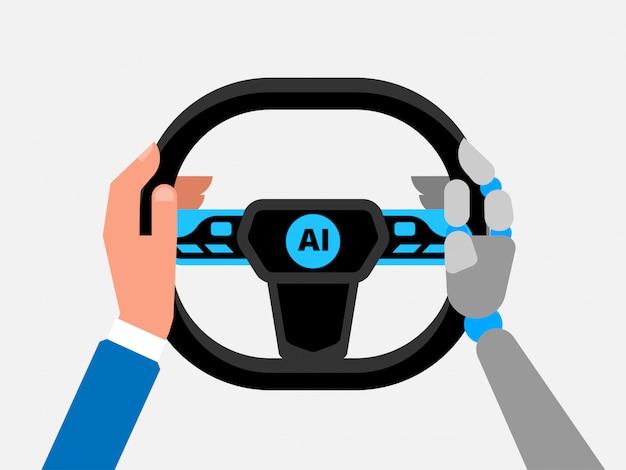 Selbstfahrendes auto, künstliche intelligenz auf der straße,