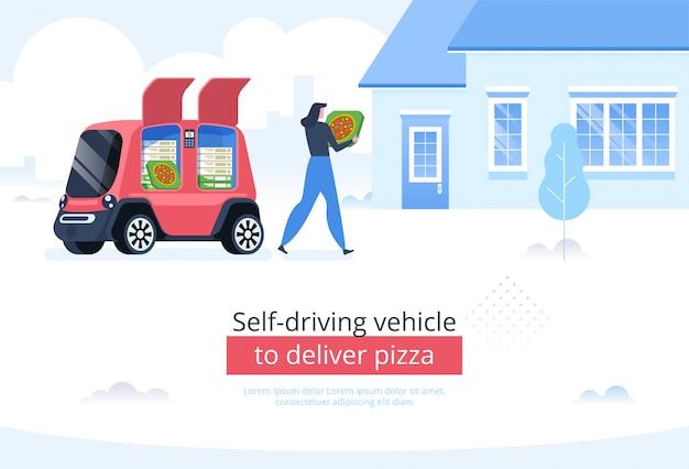 Selbstfahrendes fahrzeug, um pizza auszuliefern