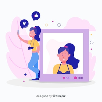 Selbstfotokonzept mit mädchenillustration