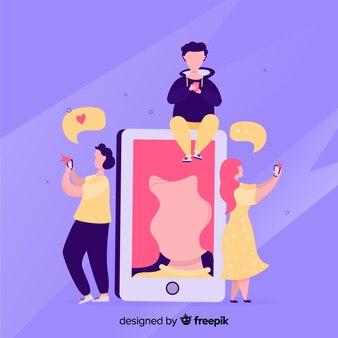 Selbstfotokonzept mit smartphone