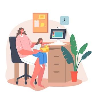 Selbstisolations-fernarbeit mit kleinem baby. junge business-mutter-charakter arbeiten am pc mit tochter, die mit spielzeug sitzt