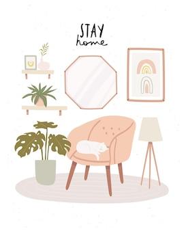 Selbstisolierend mit katze am modernen wohnzimmerinnenraum mit zu hause bleiben text. gemütliches skandinavisches wohnzimmerinterieur mit rosa sessel, katze und heimischen pflanzen
