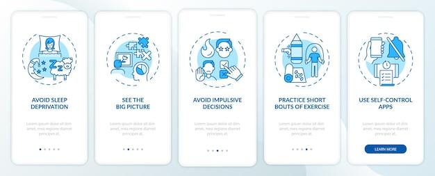 Selbstkontrolle-boosting-tipps blauer onboarding-seitenbildschirm der mobilen app mit konzepten