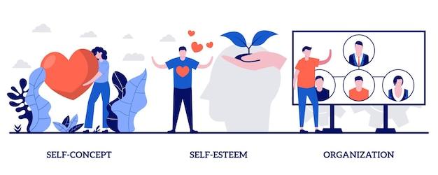 Selbstkonzept, selbstwertgefühl und organisationskonzept mit kleinen leuten. persönlichkeitsmerkmal-vektor-illustration-set. vertrauen, persönlicher wert, organisieren das tägliche leben, trainieren persönliche fähigkeiten metapher.
