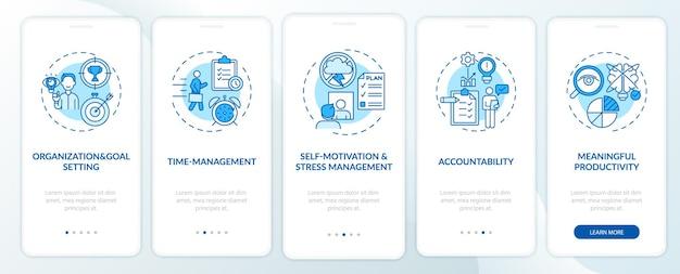 Selbstmanagementfähigkeiten blauer onboarding-seitenbildschirm der mobilen app mit konzepten