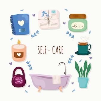 Selbstpflege-lifestyle-symbole