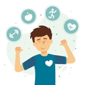 Selbstpflegekonzept mit mensch und aktivitäten