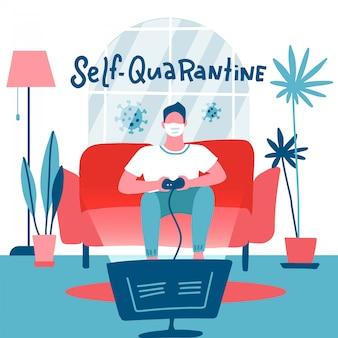 Selbstquarantäne-konzept. mann in der medizinischen maske, die videospielkonsole zu hause spielt. guy sitzt auf dem sofa, hält den gamecontroller und sieht fern. innenraum. flache illustration