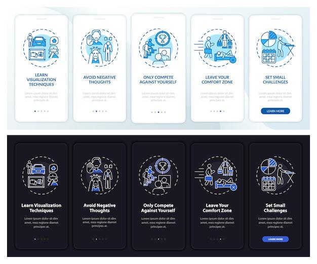 Selbstverbesserung onboarding mobile app seitenbildschirm mit konzepten
