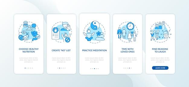 Self-care-checkliste onboarding mobile app-seitenbildschirm mit konzepten