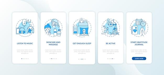 Self-care-praktiken beim onboarding des seitenbildschirms für mobile apps mit konzepten