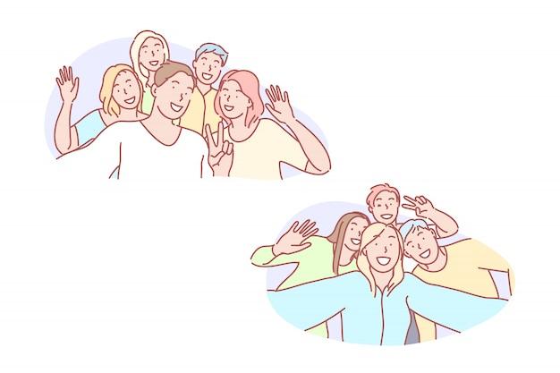 Selfie, freund, zusammen, freude, foto, set