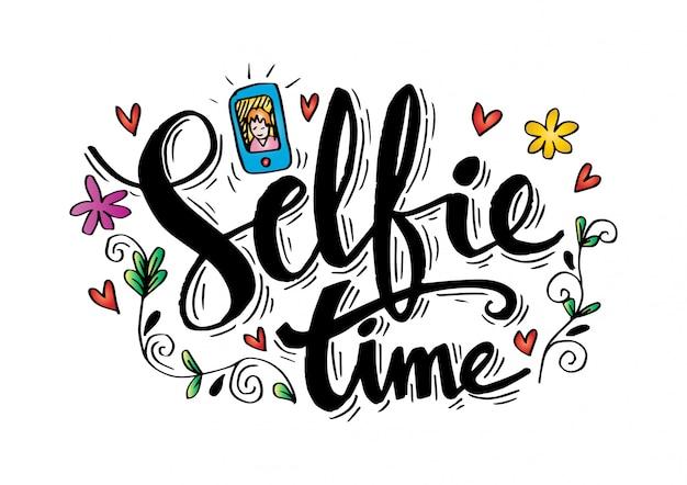 Selfie hand schriftzug.