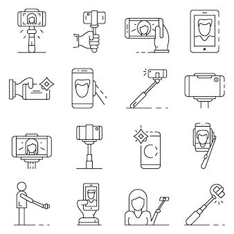 Selfie-icon-set. umrisssatz selfie vektorikonen