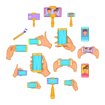 Selfie icons set, cartoon-stil
