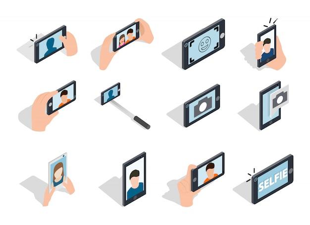 Selfie-ikone eingestellt auf weißen hintergrund