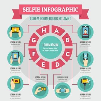 Selfie infographik konzept, flachen stil