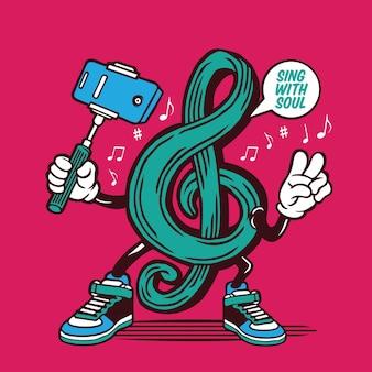 Selfie note musikalisches symbol zeichen charakter design