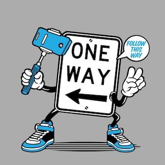 Selfie one way road sign charakter design