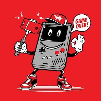 Selfie retro spiel consul character design