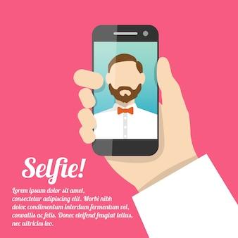 Selfie selbstporträt mit textvorlage