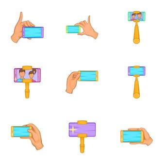 Selfie-set, cartoon-stil