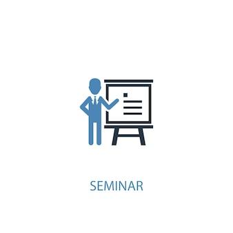 Seminarkonzept 2 farbiges symbol. einfache blaue elementillustration. seminarkonzept symboldesign. kann für web- und mobile ui/ux verwendet werden