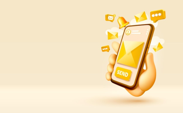 Senden sie eine e-mail-nachricht smartphone mobiler bildschirmtechnologie mobiler displayvektor