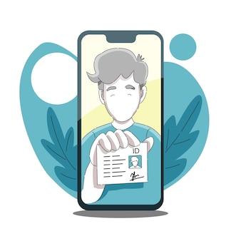 Senden sie einen persönlichen personalausweis oder laden sie ihn hoch, indem sie ein selfie-foto vom telefon aufnehmen
