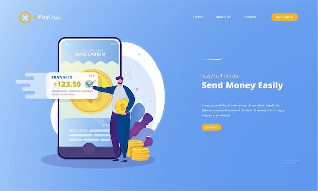 Senden sie einfach geld mit digitalen zahlungs-apps auf illustration landing page-konzept