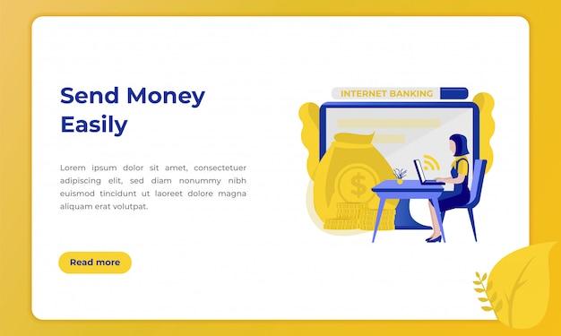 Senden sie geld leicht, illustration für landing page mit dem thema der bankenbranche