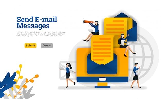 Senden von e-mail-nachrichten und artikeln von ende zu ende. umschläge und computer vektor illustration konzept