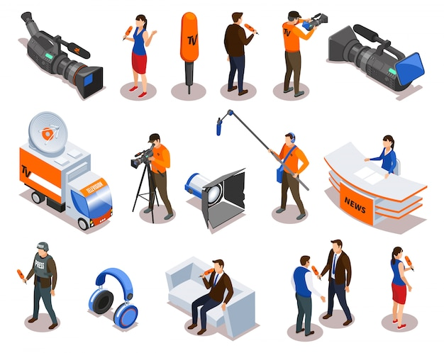 Senden von isometrischen symbolen, die mit dem reporter des journalistenkommentators und den an der talkshow- und interviewvektorillustration teilnehmenden personen eingestellt werden