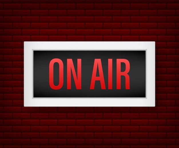Sendestudio auf luftlicht. on-air-zeichen radio und fernsehen. lager illustration. Premium Vektoren