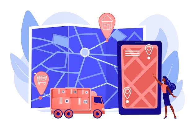 Sendungsverfolgung, paket auf smartphone-anwendung. zustellpunktvalidierung, zustellfahrer-app, unabhängiges kurierkonzept. isolierte illustration des rosa korallenblauvektors